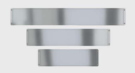 metal plate with screws. on a white background. 3d render. 版權商用圖片