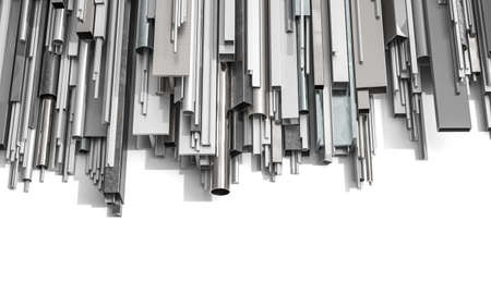 metal profiles of different shapes on a white background. 3d render.