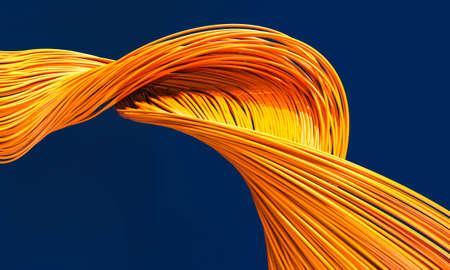 fiber optic cables orange color on a blue background. 3d render 版權商用圖片