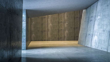 abstract modern interior in reinforced concrete. 3d render