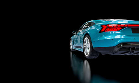 blue super car on a dark background. 3d render.
