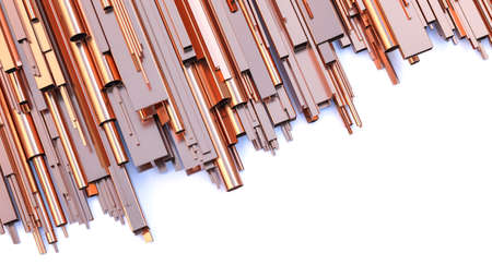 copper profiles and pipes on a white background. 3d render