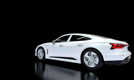 white super car on a dark background. 3d render. 版權商用圖片