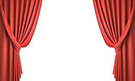 red curtains collect with ribbon. isolated on white. 3d render 版權商用圖片