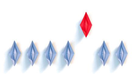 origami paper boats. leadership concept. 3d render 版權商用圖片