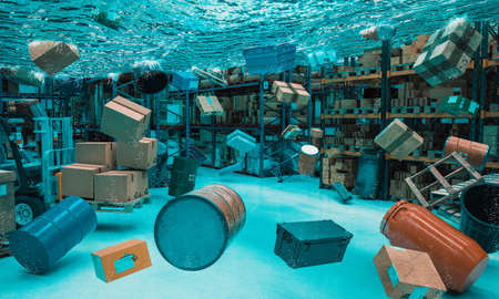 freight warehouse flooded with floating objects. logistic problem concept. 3d render