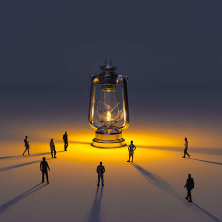 huge kerosene lamp with flame and people going towards the light. 3d render models