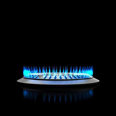 blue flame at kitchen stove gas. 3d render 版權商用圖片