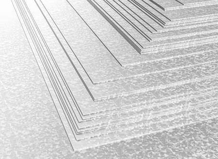 stacked galvanized metal sheets. 3d render