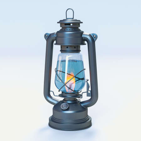 kerosene lamp filled with water with burning flame. 3d render 版權商用圖片