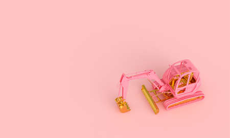 pink and gold excavator on a pink background. 3d render