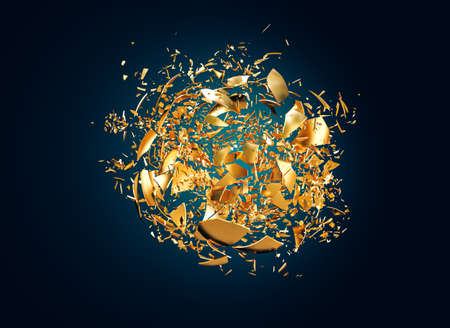 gold sphere that is destroyed in small fragments. 3d render