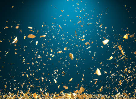 rain of gold metallic fragments on a blue background. 3d render