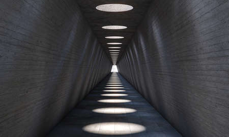 abstract architecture, long tunnel with circular holes in the ceiling for solar lighting. 3d render