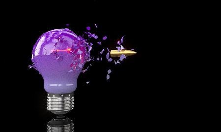 purple bulb crashing hit by a bullet on black. 3d render 版權商用圖片
