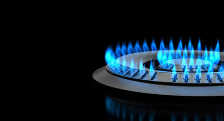 detail gas stove with flame on a black background. 3d render 版權商用圖片