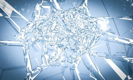 glass breaking on white background. 3d render 版權商用圖片