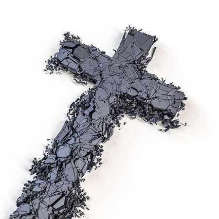 stone crucifix that breaks and shatters into small pieces. 3d render
