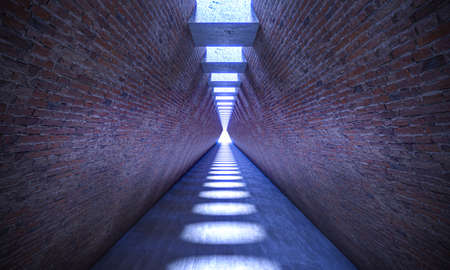 corridor with brick walls and skylights on the ceiling. 3d render