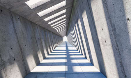 abstract architecture with passage and diagonal walls, shadows and sunlight. 3d render 版權商用圖片