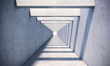 concrete tunnel with sunlight coming from the top. 3d render
