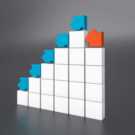 blue and red arrows on schematic block chart. business and finance concept. 3d render