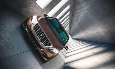 luxury car in modern concrete tunnel. 3d render