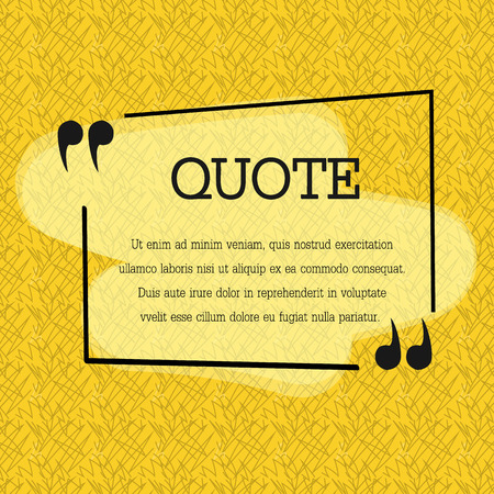 feedback label: Quote blank template. Quote bubble. Empty template. Circle business card template, paper sheet, information, text. Print design. Quote form. Template vector set. Yellow poster, yellow quote box blank