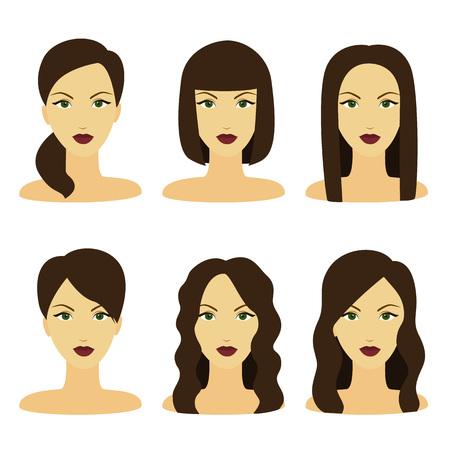 hairdo: Vector design of beautiful collection of female brunette hairdo