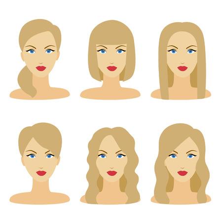 hairdo: Vector design of beautiful collection of female blonde hairdo Illustration
