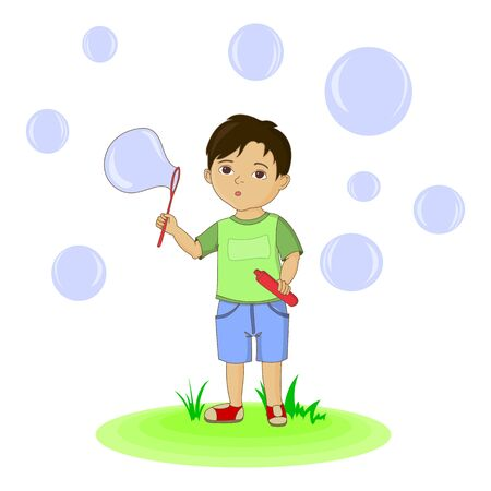 blowing: Cute boy blowing bubbles. hand drawn illustration Stock Photo