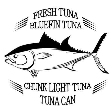 bluefin tuna: Tuna fish symbol on white background,Vector. Painting beautiful fish with action Illustration