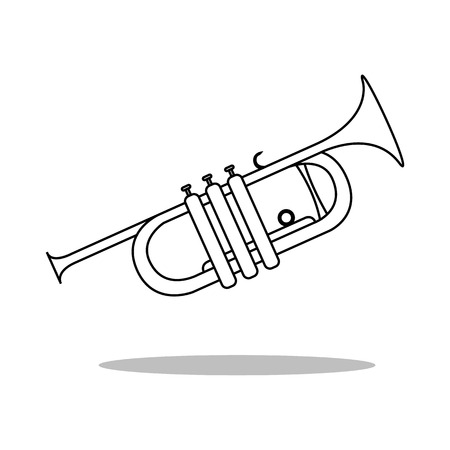 clarinet player: Simple icon Trumpet musical instrument silhouette Illustration