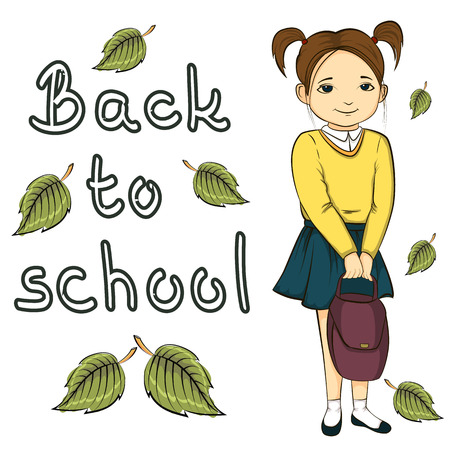 satire: illustration of little girl with bag, back to school banner with inscription isolated on white background.
