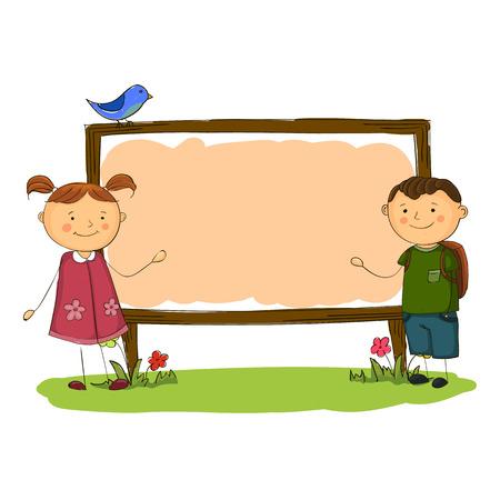 cartoon school girl: school boy and girl vertical banner simple cartoon style.