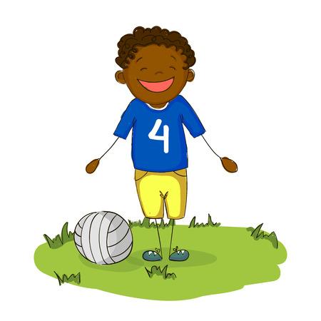black boy: happy cartoon young black boy football player smiling with ball.