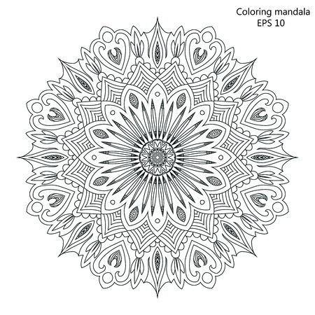 coloring pages to print: Mandala Coloring page for adult vector Illustration.