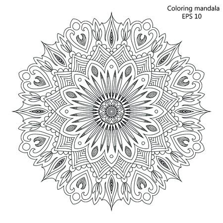 Mandala Kleurplaat voor volwassen vectorIllustratie.