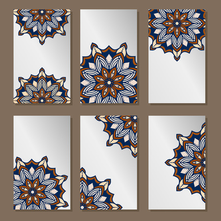 mandalas: Vector abstract plants mandalas vertical banners set pattern background. Illustration