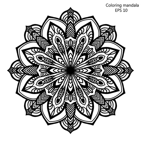 color pages: Coloring book for adult and older children. Coloring page with mandala made of decorative vintage flowers and decorative butterflies. Outline hand drawn. Vector illustration.