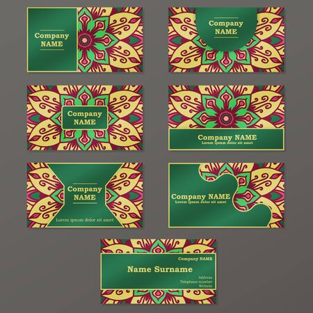 creation of sites: Business card. Vintage decorative elements. Hand drawn mandala background. Illustration