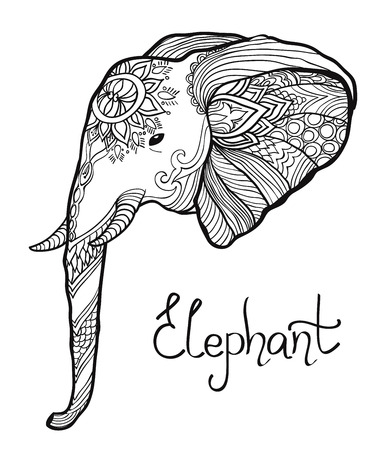 blockhead: elephant head hand drawn tangled illustration. coloring page for adult and children
