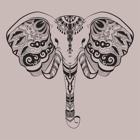 Stilisierte Elefantenkopf, Indian Tier. Ornamental Doodles. Line art. lineare verheddert Illustration. Tätowierung Stammes-Design