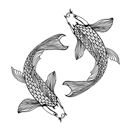 Eine schöne Koi Fisch Illustration in Schwarz-Weiß. Symbol der Liebe, der Freundschaft und des Wohlstands.