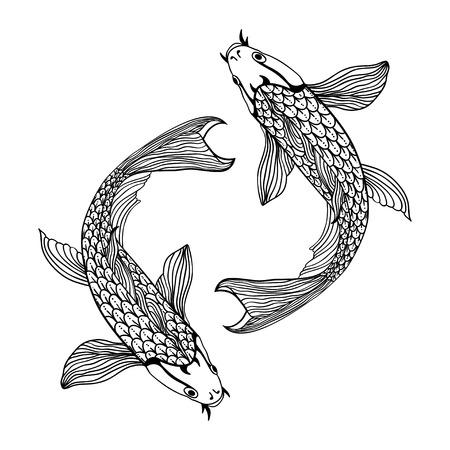 Une belle carpe koï illustration de poisson en monochrome. Symbole de l'amour, l'amitié et la prospérité.