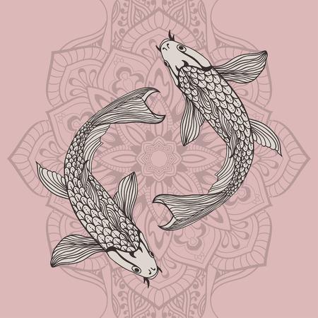 A beautiful koi carp fish illustration in monochrome. Symbol of love, friendship and prosperity. Illustration