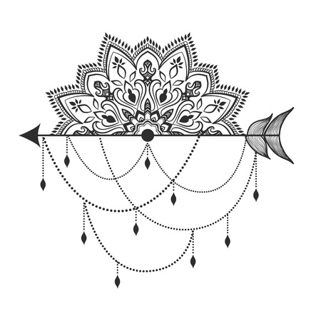 ethical: Arrow in ethical pattern with mandala in linear style.