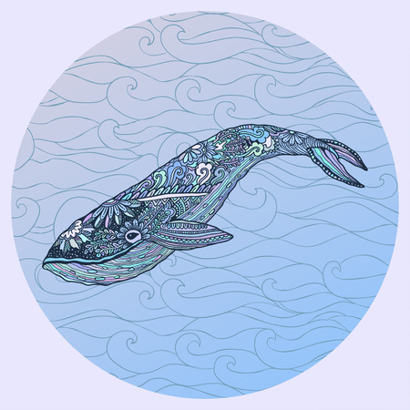 mammals: Large multicolored whale on a blue water background. An adult whale painted by hand in the art of different strokes, curls. Whale style.  The sad whale. Most sea, ocean fish, mammals.
