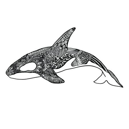 killer: Ethnic Animal Doodle Detail Pattern - Killer Whale Illustration. Illustration
