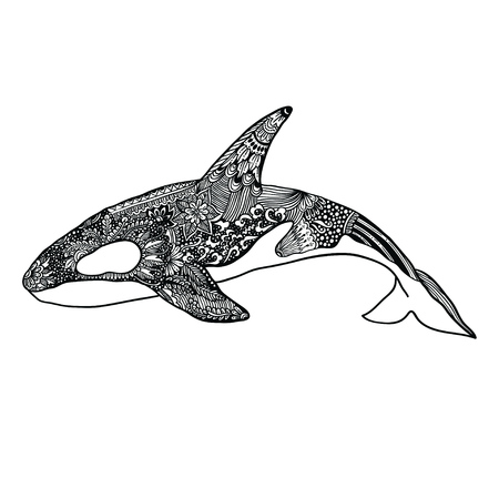 Ethnic Animal Doodle Detail Pattern - Killer Whale Illustration. Vektorové ilustrace
